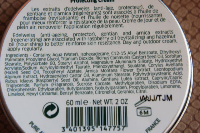 Pure Altitude Nourishing Outdoor Cream ingredients